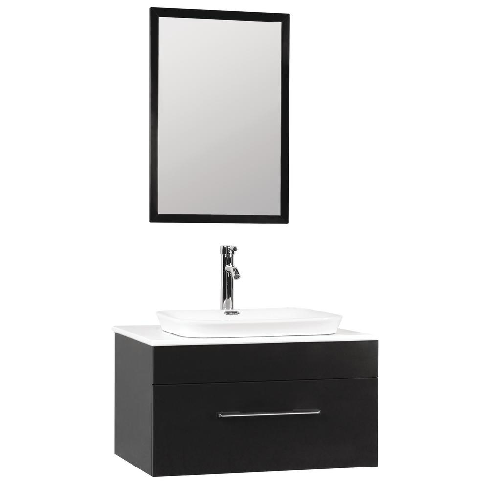 W x 20 in d floating vanity in black with engineered stone vanity top in white w white basin and mirror