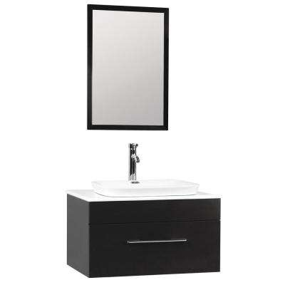 Sabrina 30 in. W x 20 in. D Floating Vanity in Black with Engineered Stone Vanity Top in White w/ White Basin and Mirror