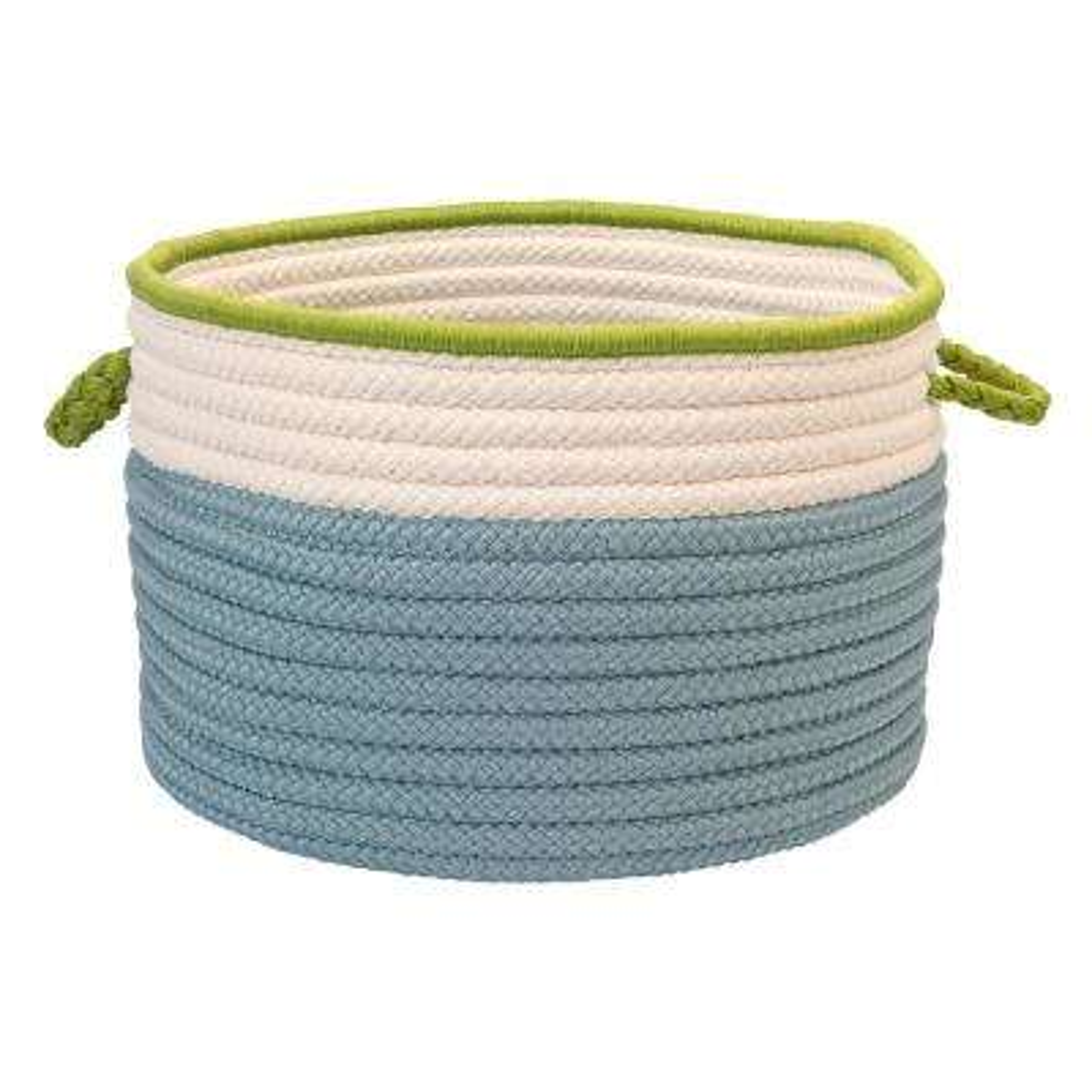 Indoor/Outdoor Light Blue/Bright Green 22 in. x 22 in. x 14 in. Round Polypropylene Storage Bin