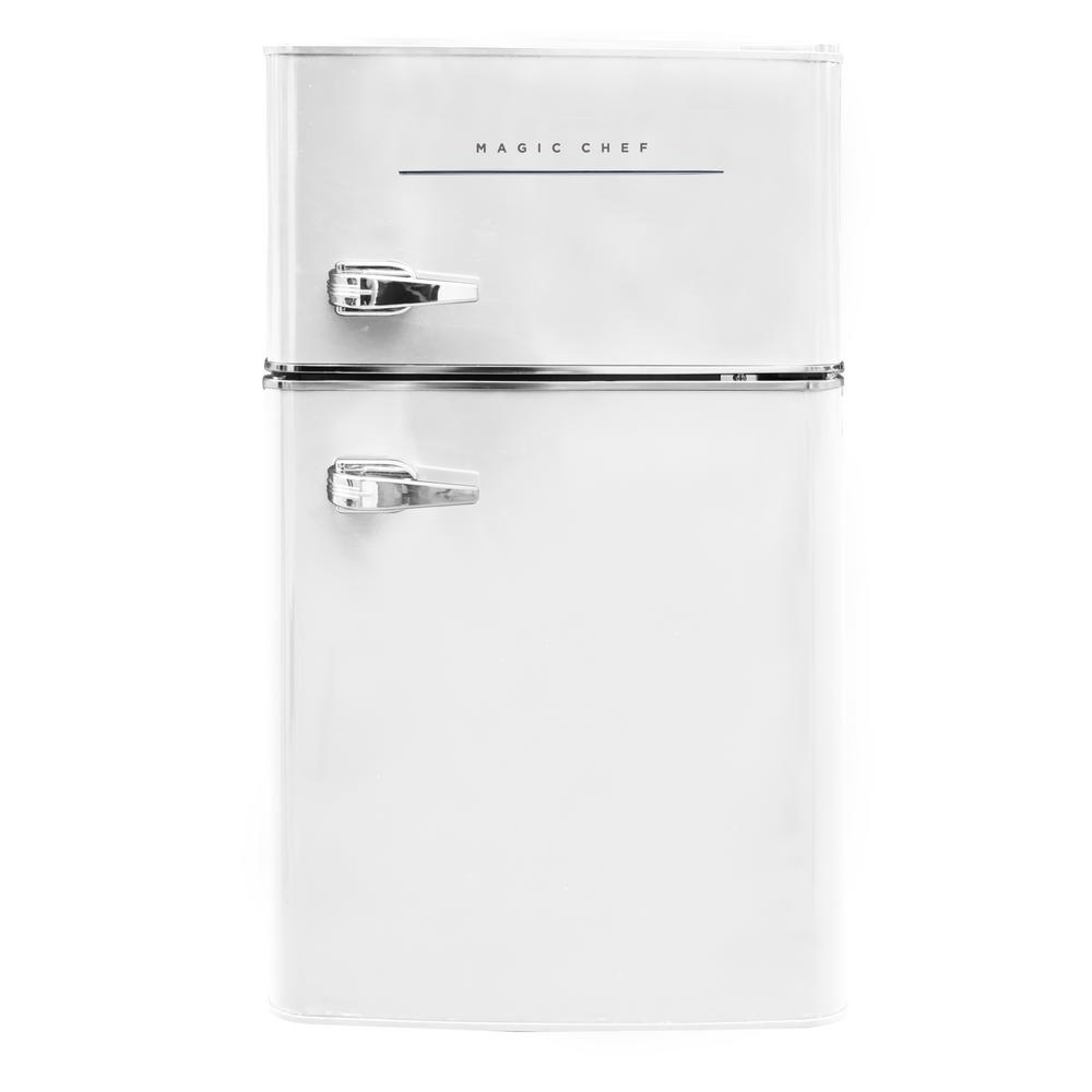 Magic Chef Retro 3 2 Cu Ft 2 Door Mini Fridge In White Hmcr320we The Home Depot