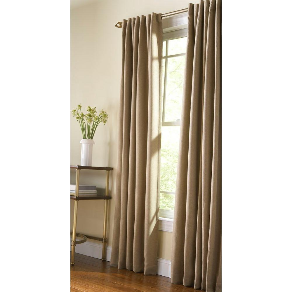 Martha Stewart Living Semi Opaque Monk Cloth Thermal Tweed Back Tab Curtain