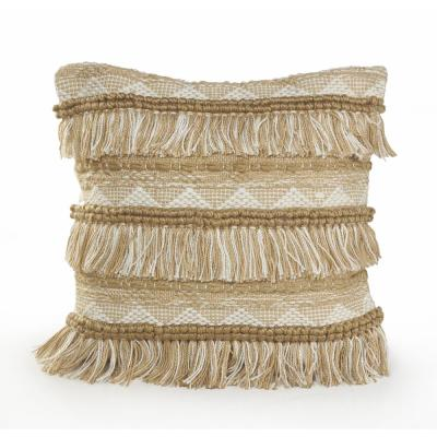 Fringe 20 in. x 20 in. Beige/White Neutral Polyester Standard Throw Pillow