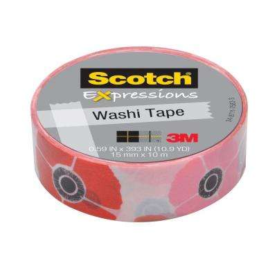 Scotch 0.59 in. x 10.9 yds. Poppy Expressions Washi Tape (Case of 36)