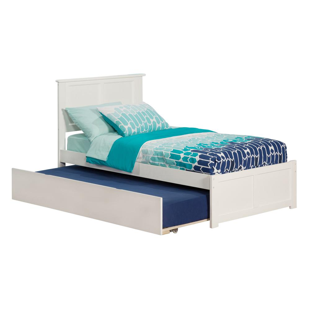 Atlantic Furniture Madison White Twin Platform Bed with Flat Panel