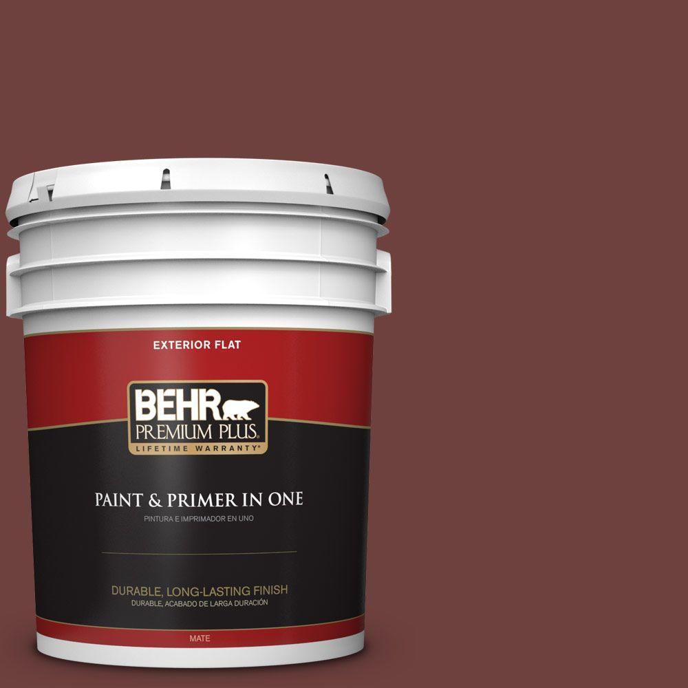 BEHR Premium Plus 5-gal. #ICC-82 Library Red Flat Exterior Paint