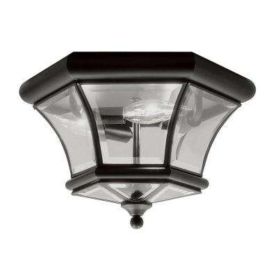 3-Light Black Flushmount with Clear Beveled Glass