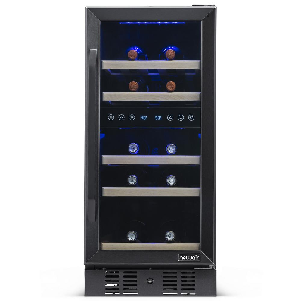 Newair Dual Zone 15 In 29 Bottle Built In Wine Cooler Fridge With Quiet Operation Beech Wood Shelves Black Stainless Steel Nwc029bs00 The Home Depot