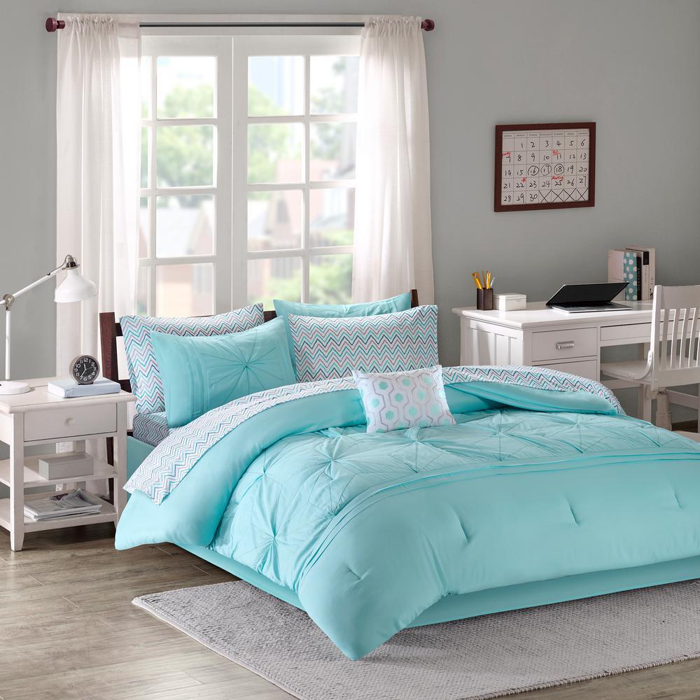 Devynn 9-Piece Aqua Queen Solid Comforter Set