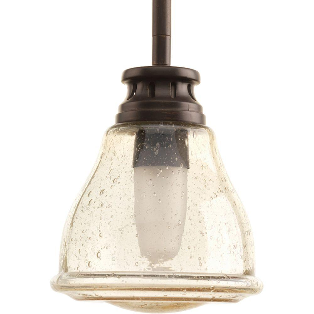 Home Decorators Collection 1 Light Antique Bronze Mini Pendant With Cognac Crystal Shade 16889
