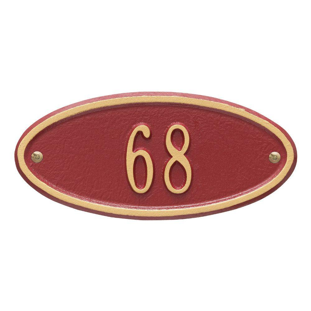 Whitehall Products Madison Petite Oval Red/Gold Wall 1-Line Address Plaque