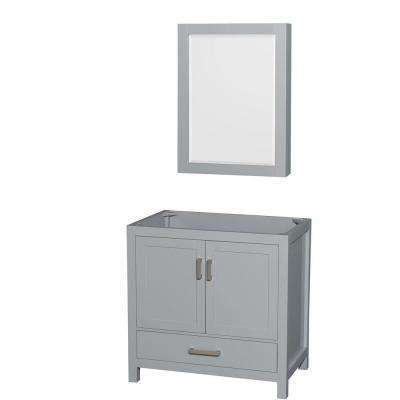 Sheffield 36 in. Vanity Cabinet with Medicine Cabinet Mirror in Gray