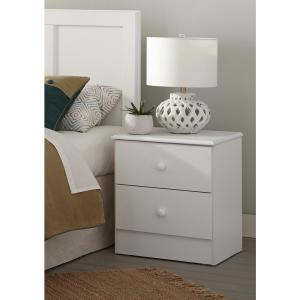 American Furniture Classics 3-Piece White Bedroom Set with Basic White  Pulls including Twin Headboard, 5-Drawer Chest and Night Stand