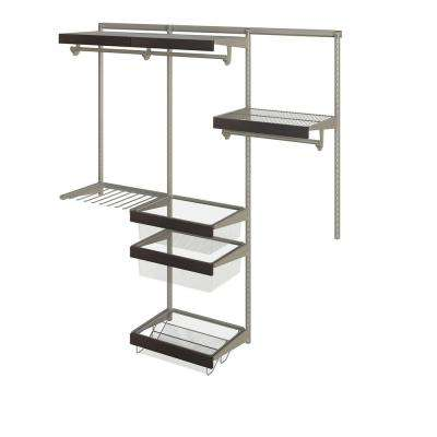 Closet Culture 16 in. x 72 in. W x 78 in. H Wire Closet System with 3 Shelves and Espresso Fascia