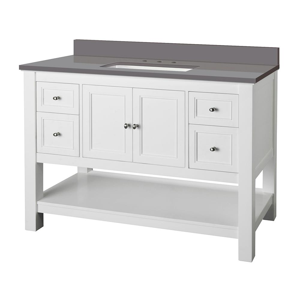 Home Decorators Collection Gazette 49 in. W x 22 in. D Bath Vanity Cabinet in White with Engineered Marble Vanity Top in Grey with White Sink