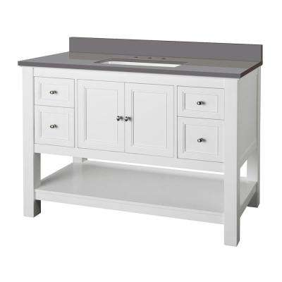 Gazette 49 in. W x 22 in. D Bath Vanity Cabinet in White with Engineered Marble Vanity Top in Grey with White Sink