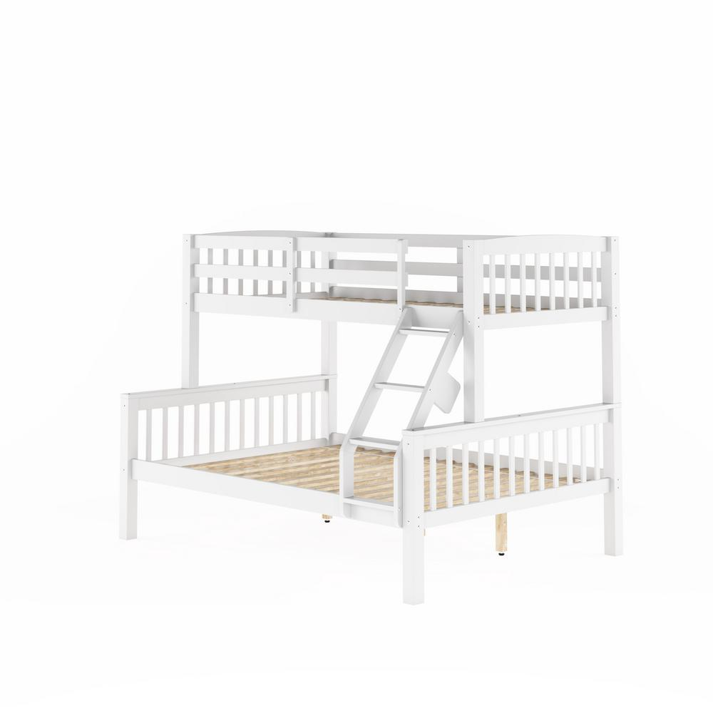 White Twin Single Over Full Double Bunk Bed Dakota