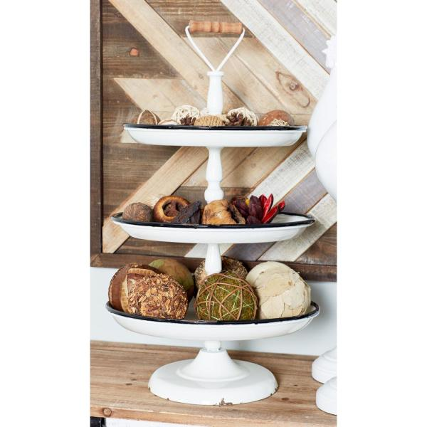 Litton Lane Distressed White Decorative 3-Tier Tray with Black and Brown