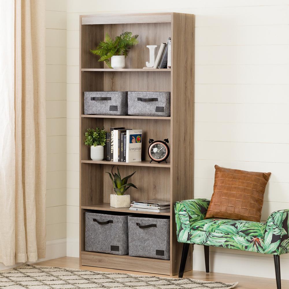 Axess Rustic Oak 5-Shelf Bookcase