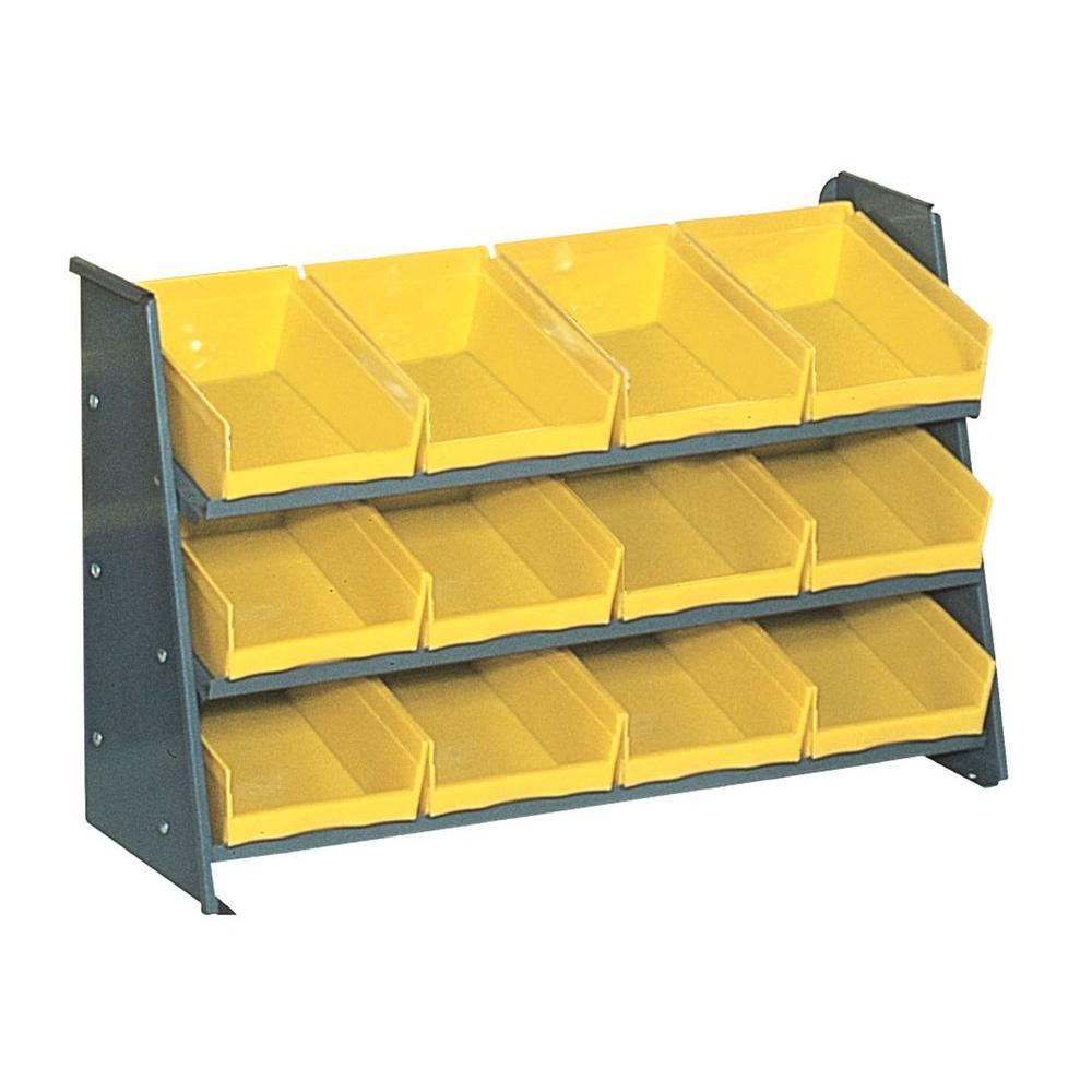 22 in. H x 35 in. W x 12 in. D Heavy Duty Gray Steel Pick Rack with 12 Yellow Plastic Bins