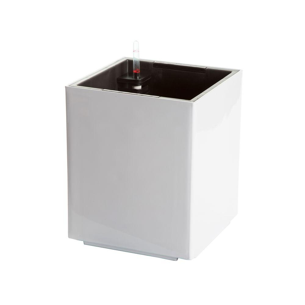 Modena 12 in. Cube Gloss White Plastic Self Watering Planter