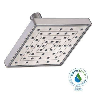 1-Spray 6 in. Square LED Color Change Showerhead in Brushed Nickel