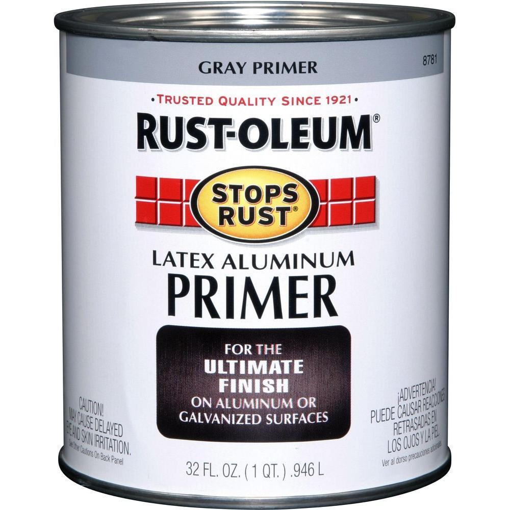 Rust-Oleum Stops Rust 1 qt. Flat Gray Latex Aluminum Primer (2-Pack)