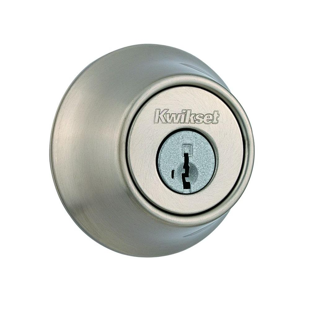 Kwikset 660 Series Satin Nickel Single Cylinder Deadbolt Featuring Smartkey Security