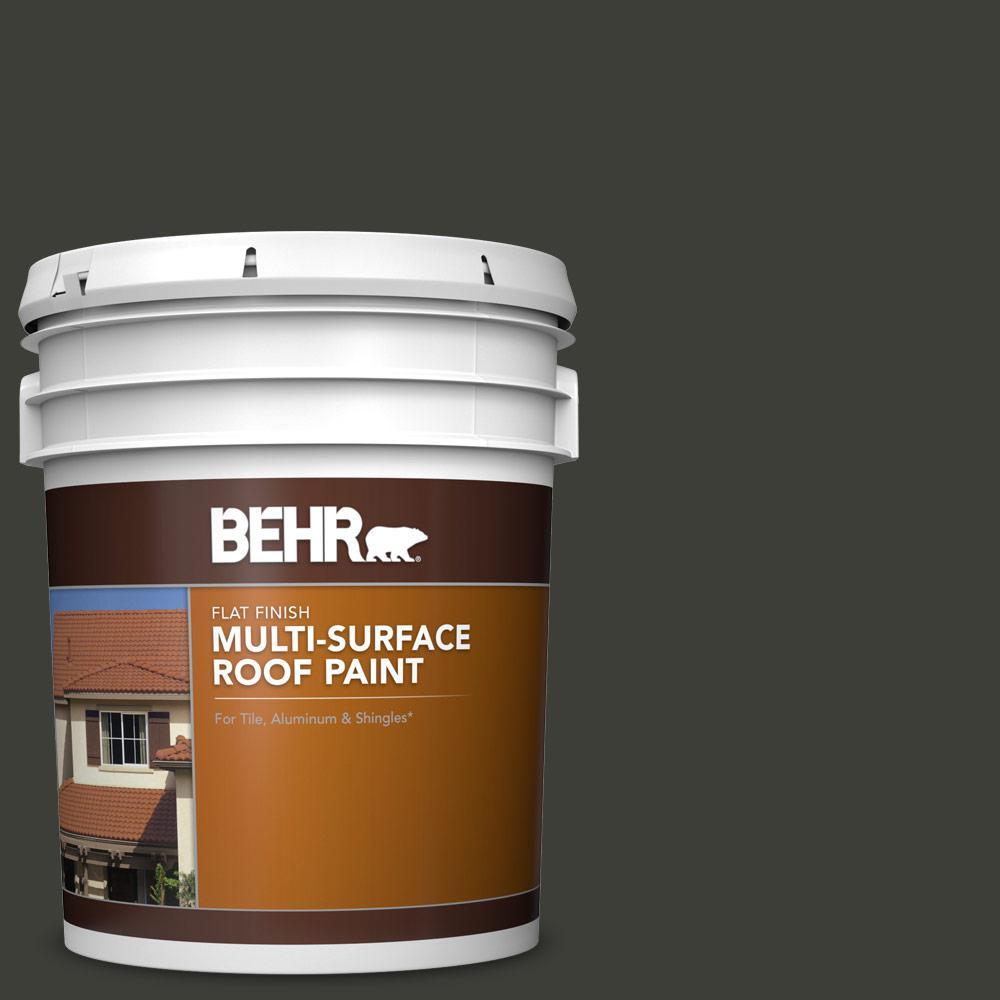 5 gal. #PFC-75 Tar Black Flat Multi-Surface Exterior Roof Paint