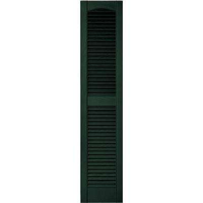 12 in. x 55 in. Louvered Vinyl Exterior Shutters Pair in #122 Midnight Green