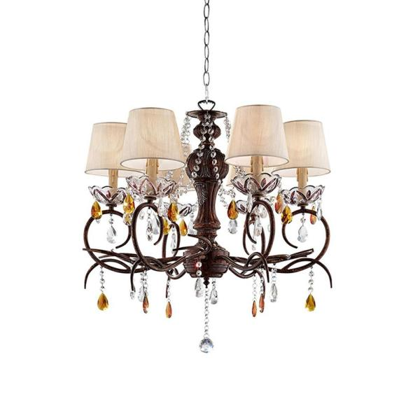 Magnolia 27 in. Bronze and Crystal Ceiling Lamp with Clip-On Bell Shades