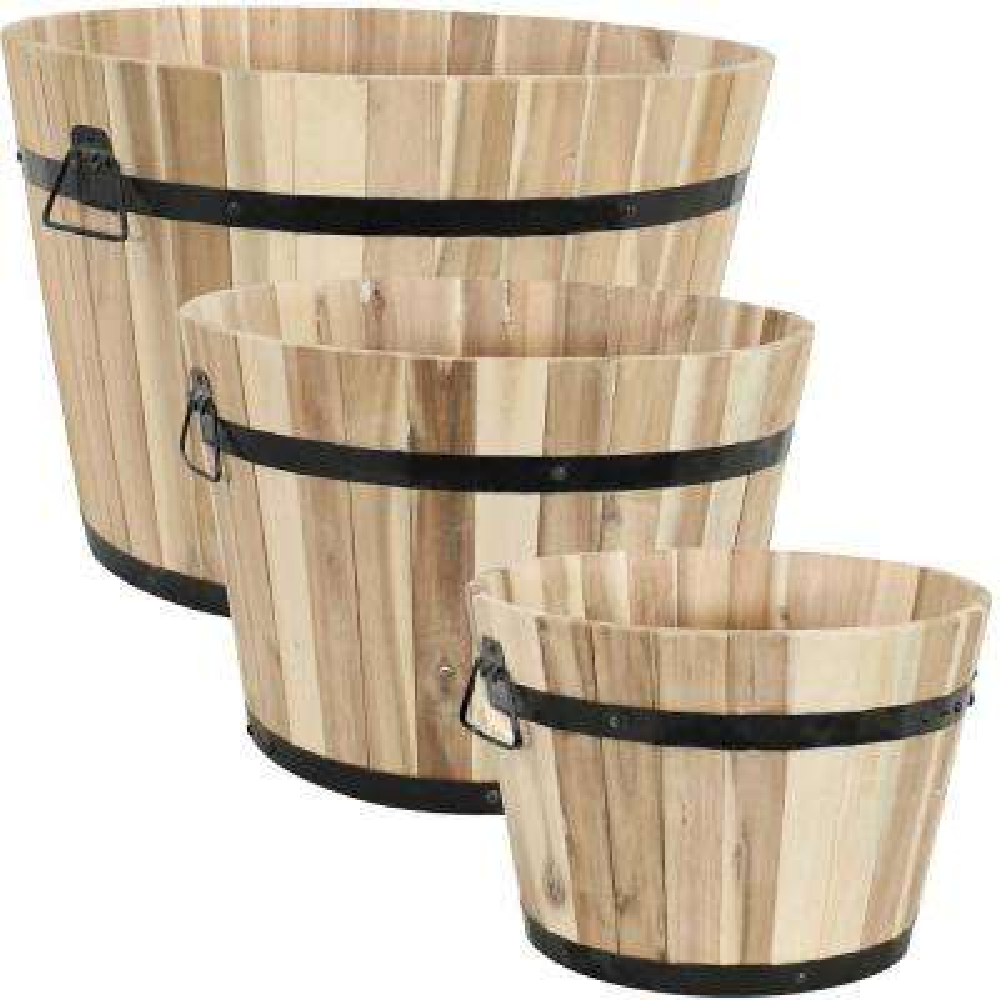 Round Acacia Wood Barrel Planters (Set of 3)