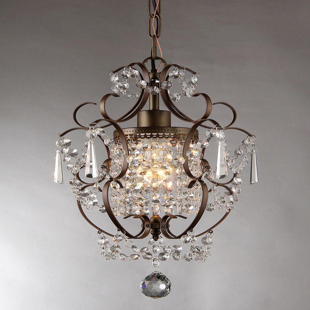 Rosalie 11 in. Antique Bronze Indoor Crystal Chandelier