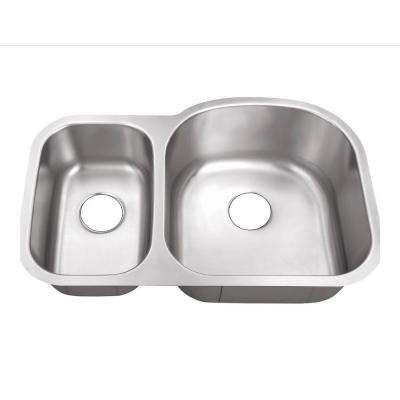 Undermount Stainless Steel 32 in. 0-Hole 30/70 Double Bowl Kitchen Sink
