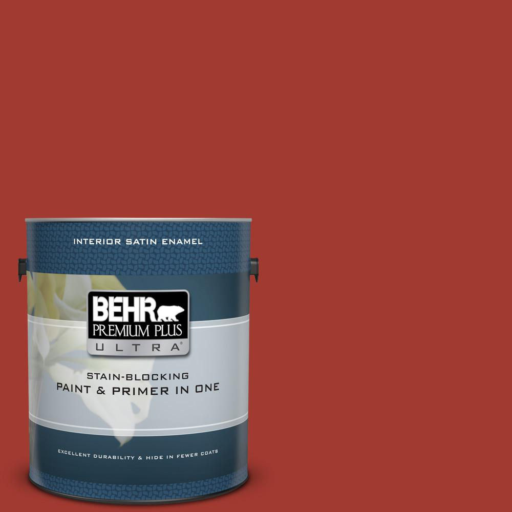BEHR Premium Plus Ultra 1 gal. #PPU2-16 Fire Cracker Satin Enamel Interior Paint and Primer in One