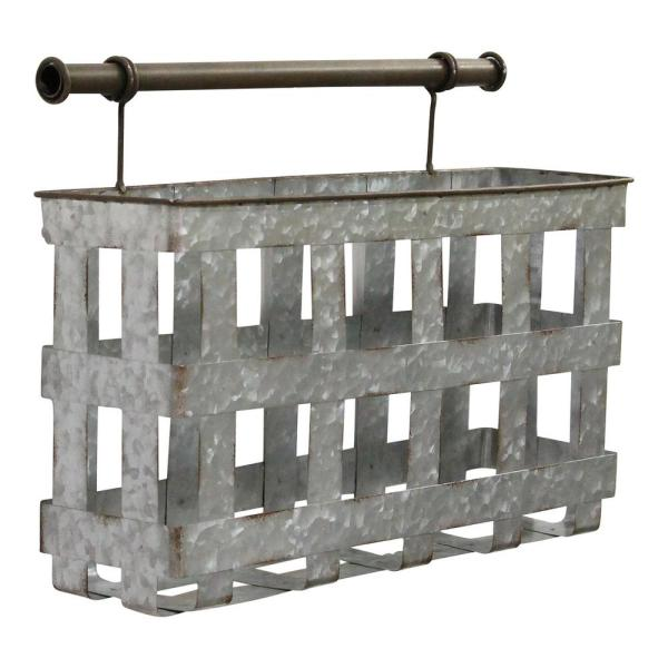 Stratton Home Decor Galvanized Metal Wall Basket S23741 The Home Depot
