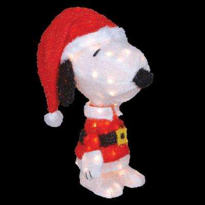 18 in. LED 3D Pre-Lit Snoopy in Santa Suit