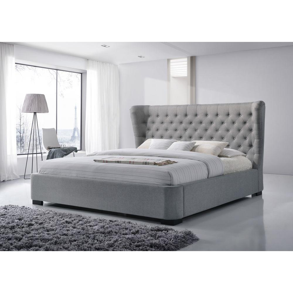 Charmant LuXeo Manchester Gray King Upholstered Bed