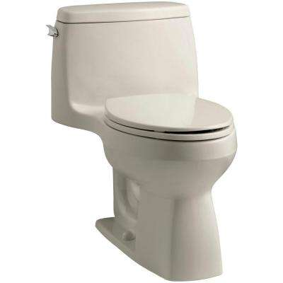 Santa Rosa Comfort Height 1-piece 1.6 GPF Single Flush Compact Elongated Toilet with AquaPiston Flush in Sandbar