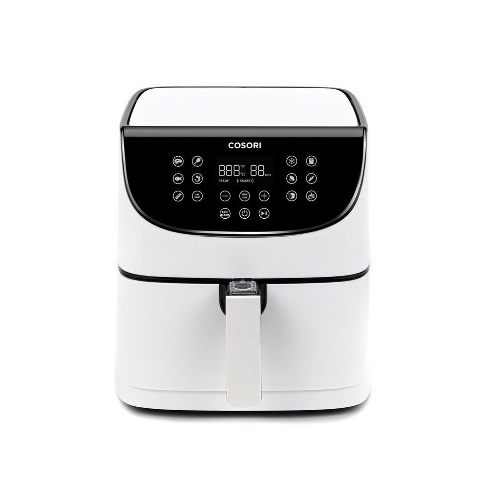 Premium 5.8 Qt. White Air Fryer with Skewer Rack Set