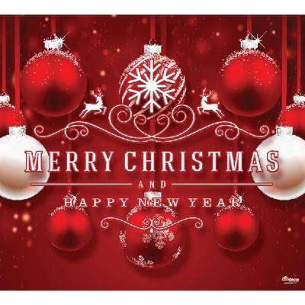 7 ft. x 8 ft. Red Ornaments-Christmas Garage Door Decor Mural for Single Car Garage
