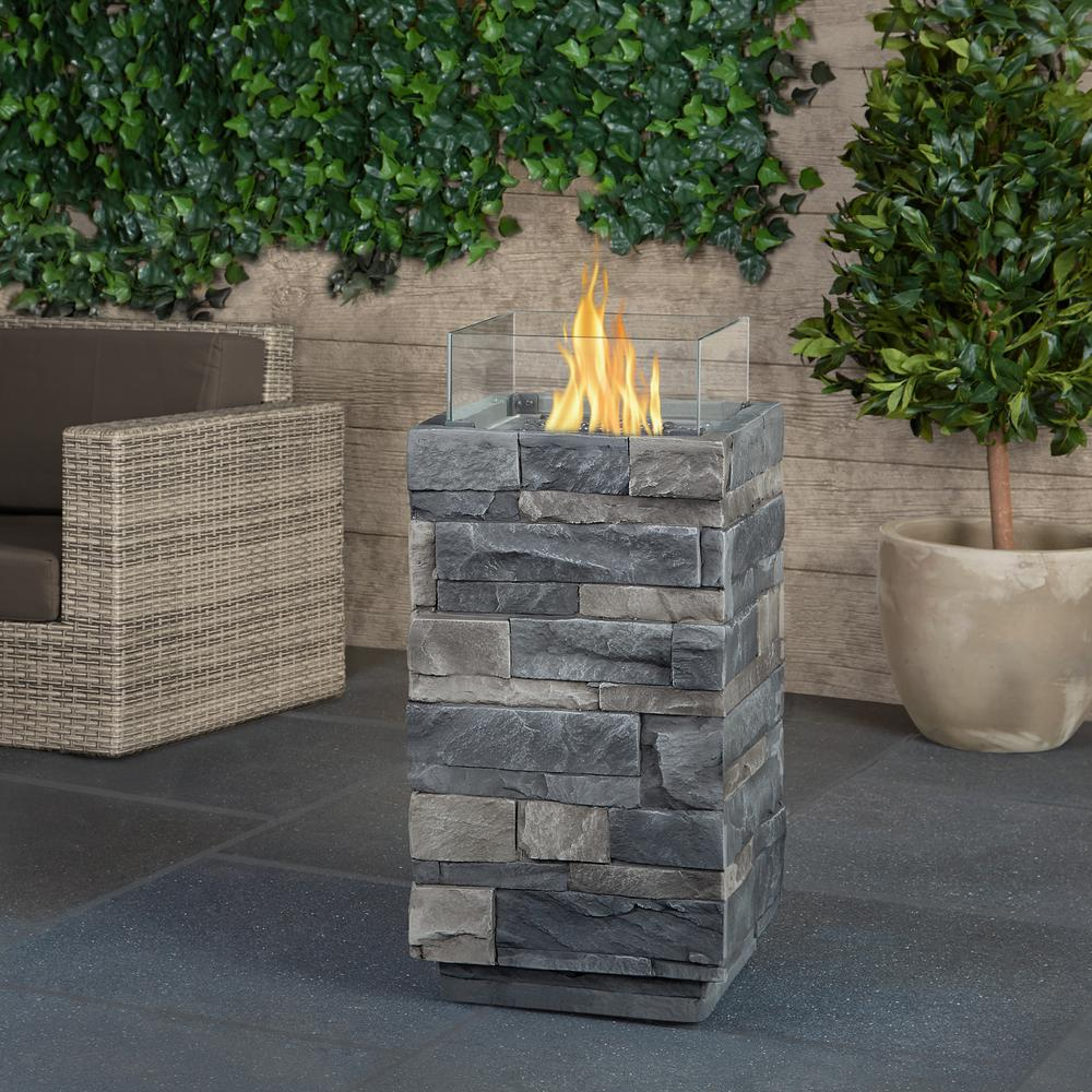 Real Flame Gray Ledgestone 14 in. Fiber-Cast Concrete Fire Column in Gray with Glass Panels