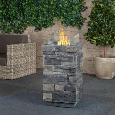 Gray Ledgestone 14 in. Fiber-Cast Concrete Fire Column in Gray with Glass Panels