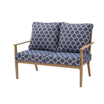 Alderton Brown Steel Outdoor Patio Loveseat with CushionGuard Midnight Trellis Navy Blue Cushions
