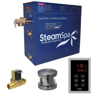 Oasis 7.5kW QuickStart Steam Bath Generator Package with Built-In Auto Drain in Polished Brushed Nickel
