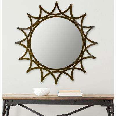 New Mayan Star 36 in. x 36 in. Iron Framed Mirror