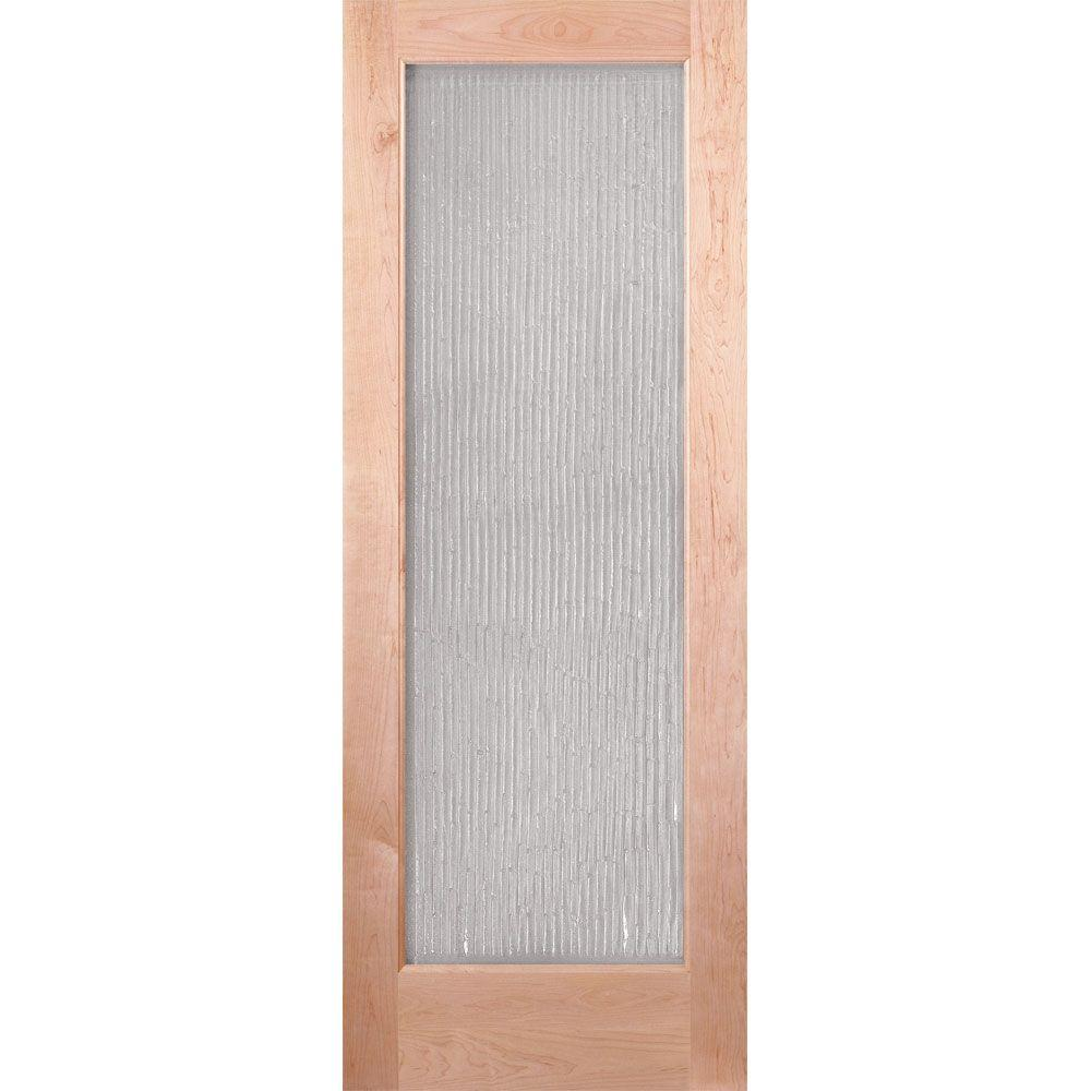 Feather River Doors 30 in. x 80 in. 1 Lite Unfinished Maple Bamboo Casting Woodgrain Interior Door Slab