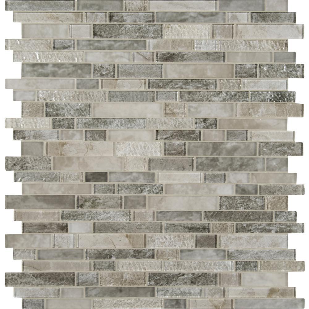 Savoy Interlocking 12 in. x 12 in. x 8mm Glass Mesh-Mounted Mosaic Tile (10 sq. ft. / case)