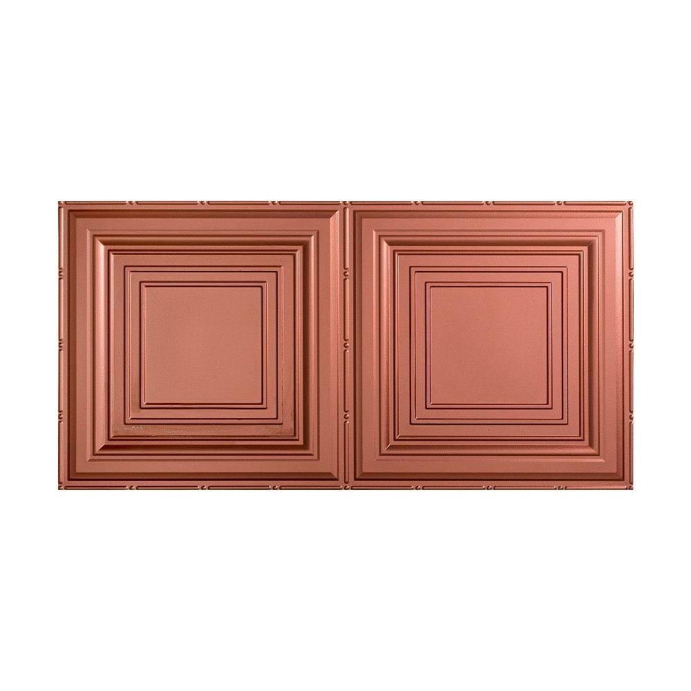 Fasade Traditional 3 - 2 ft. x 4 ft. Glue-up Ceiling Tile in Argent Copper