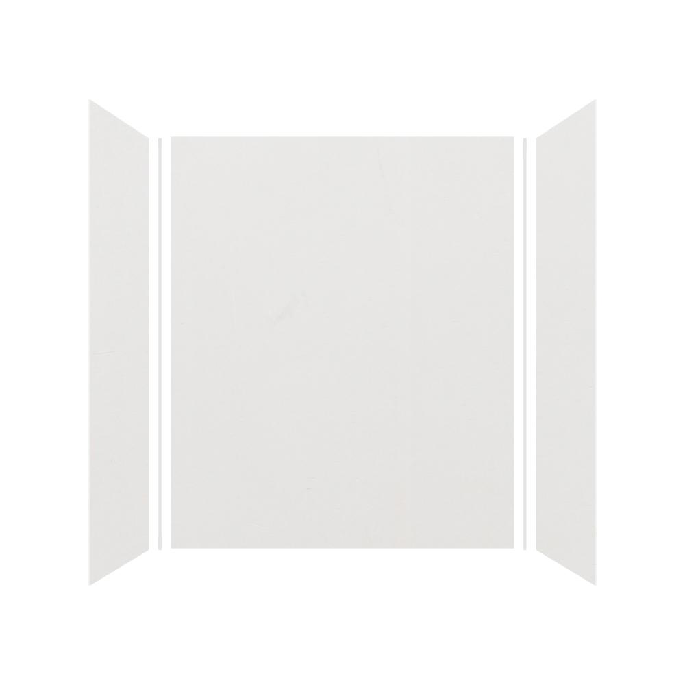 Transolid Expressions 32 in. x 60 in. x 72 in. 3-Piece Easy Up Adhesive Alcove Shower Wall Surround in Grey
