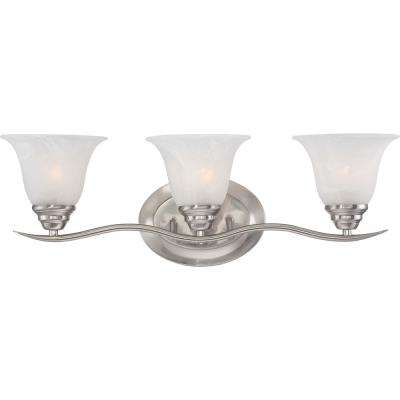 Trinidad 3-Light Indoor Brushed Nickel Bath or Vanity Wall Mount with Alabaster Glass Bell Shades